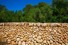 Menorca masonry stonewall Cala en Turqueta Ciutadella Stock Photo