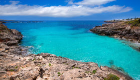 Menorca Platja ES Calo Blanc在巴利阿里群岛的Sant Lluis 免版税库存图片