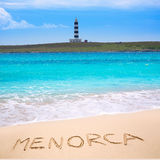 Menorca Punta Prima far illa del Aire island lighthouse Royalty Free Stock Image
