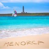 Menorca Punta Prima far illa del Aire island lighthouse. In Balearic islands royalty free stock image