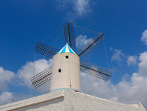Menorca Sant Lluis San Luis Moli de Dalt windmill in Balearic. Islands of Spain Stock Photos