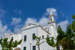 Menorca Sant Lluis white mediterranean church in Balearic Stock Image
