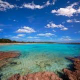 Menorca Son Saura beach in Ciutadella turquoise Balearic. Menorca Son Saura beach in Ciutadella turquoise color at Balearic islands Stock Photos