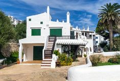 Whitewashed Houses in Binibeca - Menorca royalty free stock image