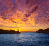 Menorca sunset in Cala Morell at Ses torretes beach Stock Photo