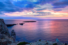 Menorca sunset in Cap de Caballeria cape at Balearic Royalty Free Stock Image