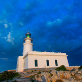 Menorca sunset at Faro de Caballeria Lighthouse Royalty Free Stock Images
