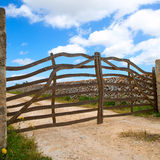 Menorca traditional wooden fence in Balearic islands Stock Photo
