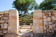 Menorca traditional wooden fence gate in Balearic islands Stock Photos