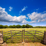 Menorca traditional wooden gate in spring at  Balearic Stock Photography