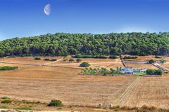 Menorcan Farm. With a blue sky with a large day moon with forest and woods in background Royalty Free Stock Photo
