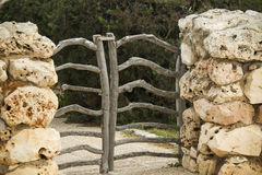 Menorcan wooden gate. Traditional gates made from olive tree branches stock images