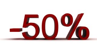 Menos 50 por cento Imagens de Stock Royalty Free