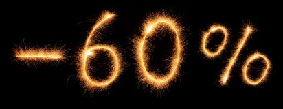Menos a rotulação de 60% tirada com sparkles bengalis Fotos de Stock Royalty Free