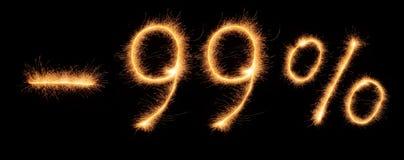Menos a rotulação de 99% tirada com sparkles bengalis Foto de Stock Royalty Free