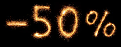 Menos a rotulação de 50% tirada com sparkles bengalis Foto de Stock