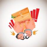 Menottes avec l'enveloppe brune de la corruption concept d'arrestation de corruption - illustration Image stock