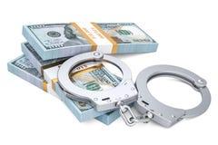Menottes et paquets du dollar, concept de crime rendu 3d Photos libres de droits