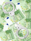 Menottes sur cent verticales de fond d'euro Photos libres de droits