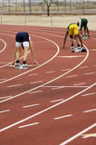 Mens 400 meter run. Start of the men's 400 meter run during a college track meet Royalty Free Stock Images