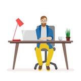 Mens achter een bureau die aan een computer werken De werkomgeving van het bureaupersoneel Lamp en laptop, koffie en vector illustratie