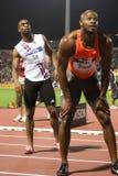Mens alegre el 100m de Tyson Asafa Powell imagenes de archivo