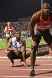 Mens alegre el 100m de Tyson Asafa Powell fotos de archivo libres de regalías