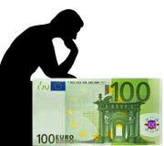 Mens & Euro. Het denken aan geld. Royalty-vrije Stock Foto