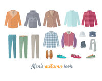 Mens Autumn Look Apparel Set. Clothing. Outerwear. royalty free illustration