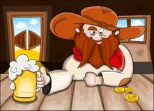 Mens in bar met bier Royalty-vrije Stock Afbeeldingen