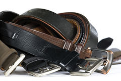 Mens Belts On White Background Stock Photography