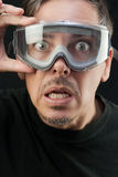 Mens in Beschermende brillen Royalty-vrije Stock Foto's