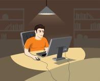 Mens bij de computer Royalty-vrije Stock Afbeeldingen