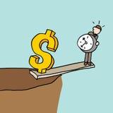 Mens bij de rand van een klippen in evenwicht brengend tijd en een geld Stock Afbeelding
