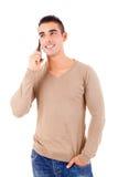 Mens bij de telefoon Stock Fotografie