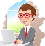 Mens bij laptop royalty-vrije illustratie