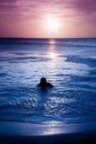 Mens bij zonsondergang Stock Fotografie