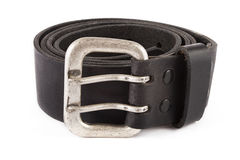 Mens black leather belt Stock Images