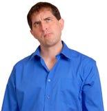 Mens in Blauw Overhemd 15 Stock Afbeelding