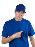 Mens in blauwe eenvormig Royalty-vrije Stock Afbeeldingen