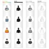 Mens, bouwer, schilder, en ander Webpictogram in beeldverhaalstijl Het werk, roeping, beroep, pictogrammen in vastgestelde inzame vector illustratie