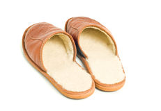 Mens brown leather slippers Stock Photo