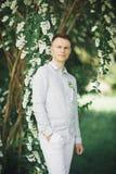 Mens, bruidegom het stellen in park op zijn huwelijksdag stock fotografie