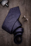 Mens business accessories tie cologne cuff links Stock Images