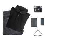 Mens casual outfit on white background. Top view Stock Photos