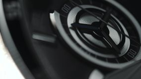 Mens Chronograph Watch made metal with sapphire glass. Close-up black and white studio macro video. 4k stock footage