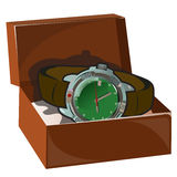Mens classic retro watch with leather strap in box Stock Photography