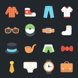 Mens Clothes and Accessories Flat Icons Royalty Free Stock Image