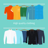 Mens clothes on hangers Stock Photos