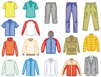 Men's clothes vector color illustrations Stock Photos